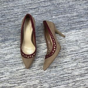 Nine West Nude Maroon suede laser cut heels SZ 8.5
